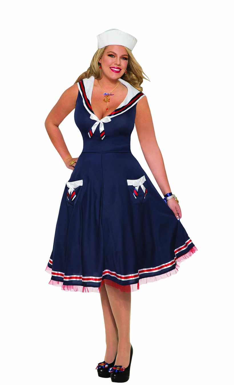 Details about Womens Ahoy Sailor Navy Dress White Hat Adult Halloween Plus  Size Fancy Costume