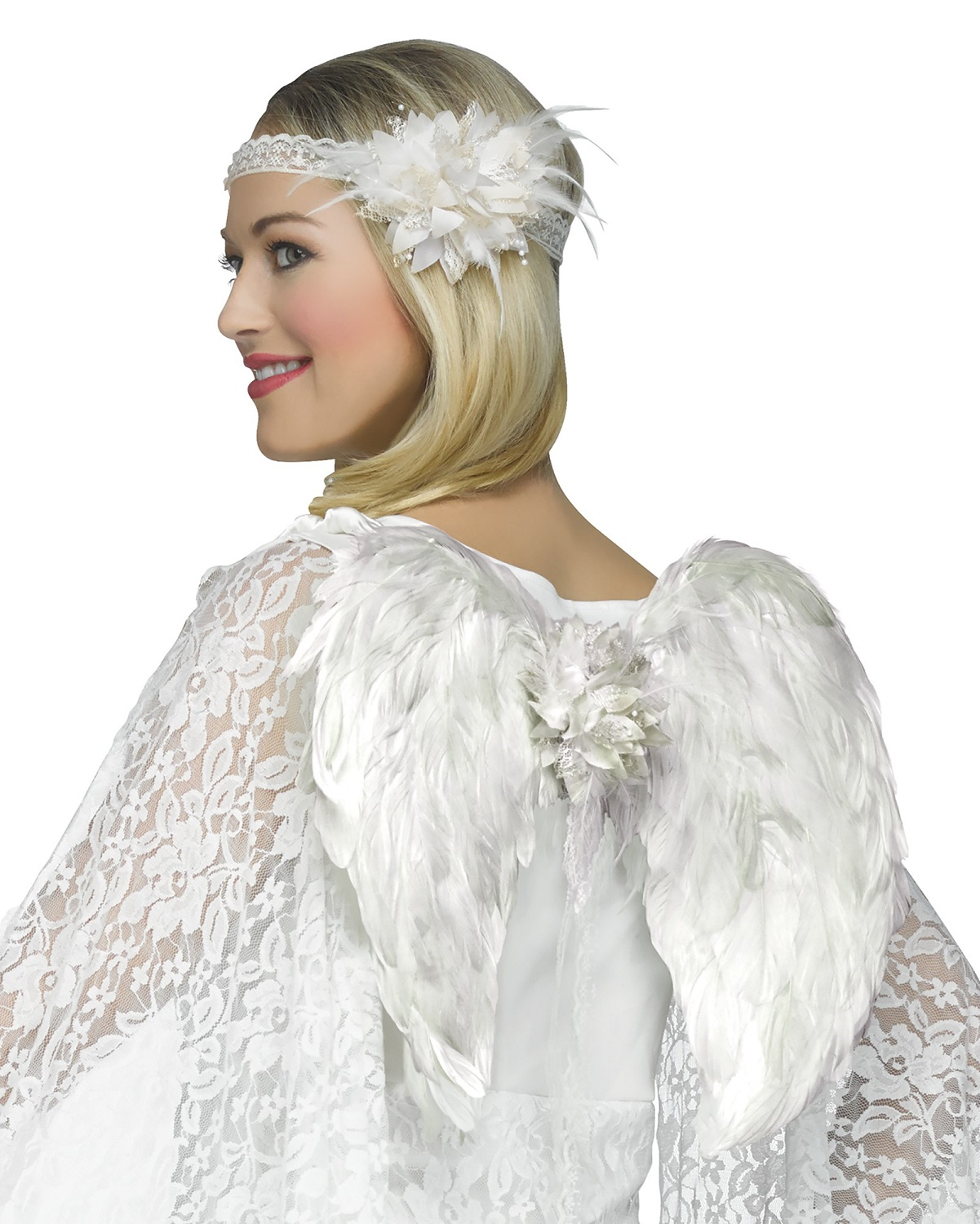 Lace Instant Angel Costume Kit Flower Headband White Wings Accessory