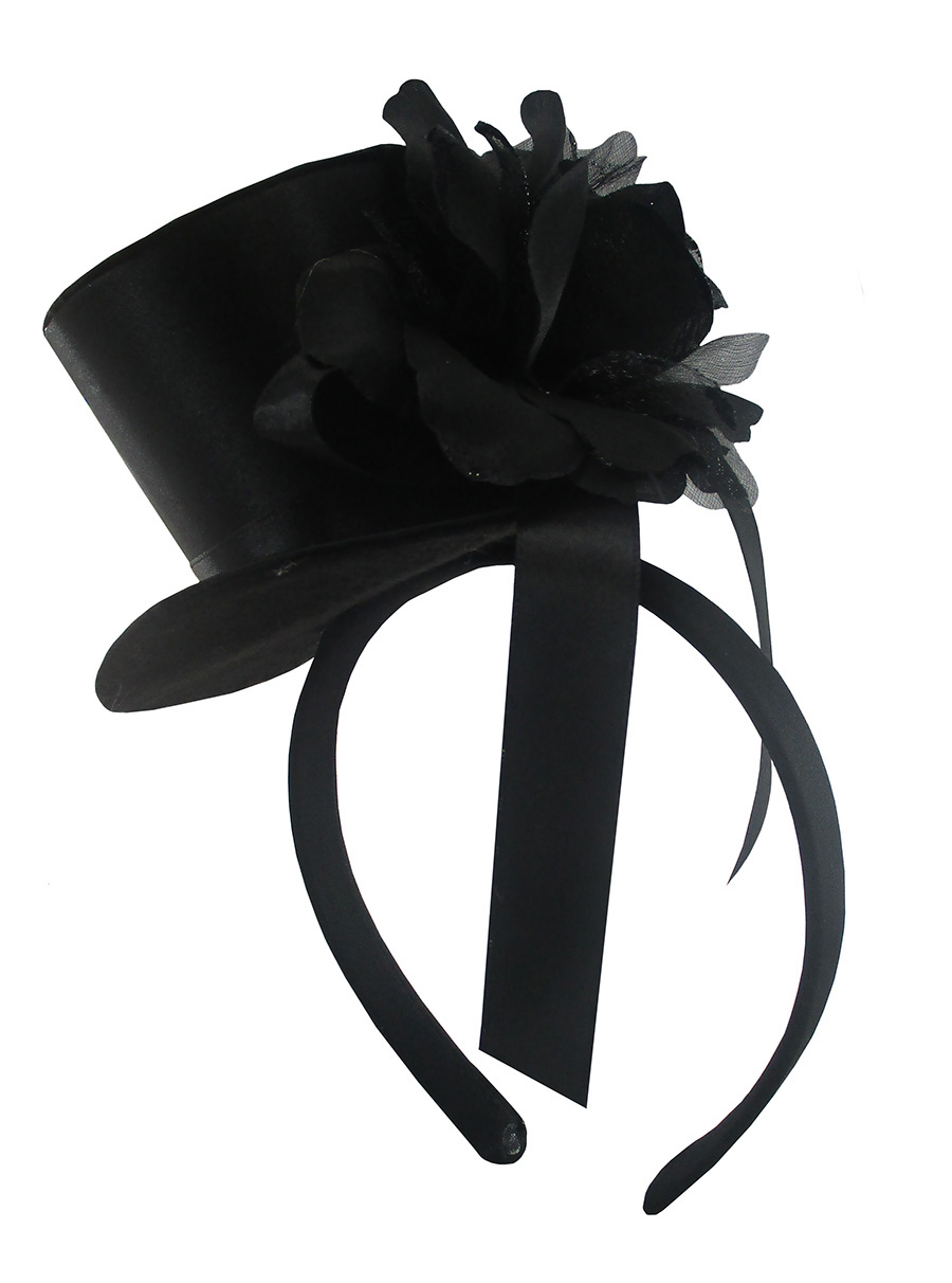 Womens Mini Black Gothic Top Hat With Rose Ribbon Headband Fascinator Accessory