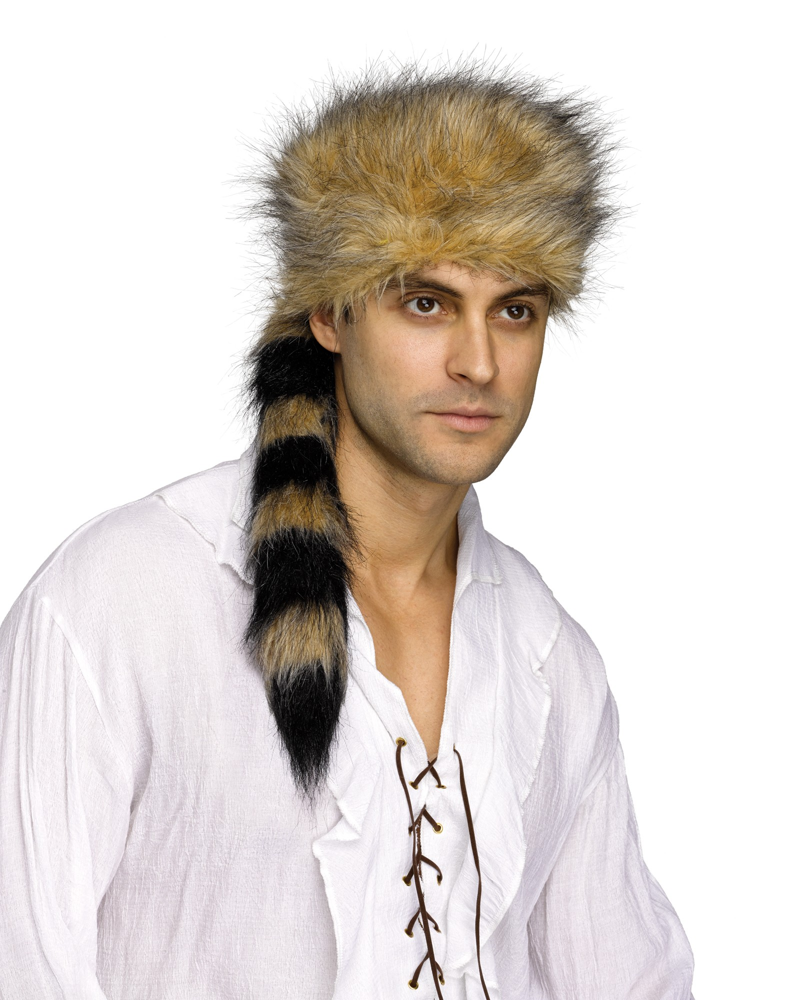 Coon Skin Coonskin Cap Raccoon Hunting Davy Crockett Furry Tail Hat Adult dc9c7589567
