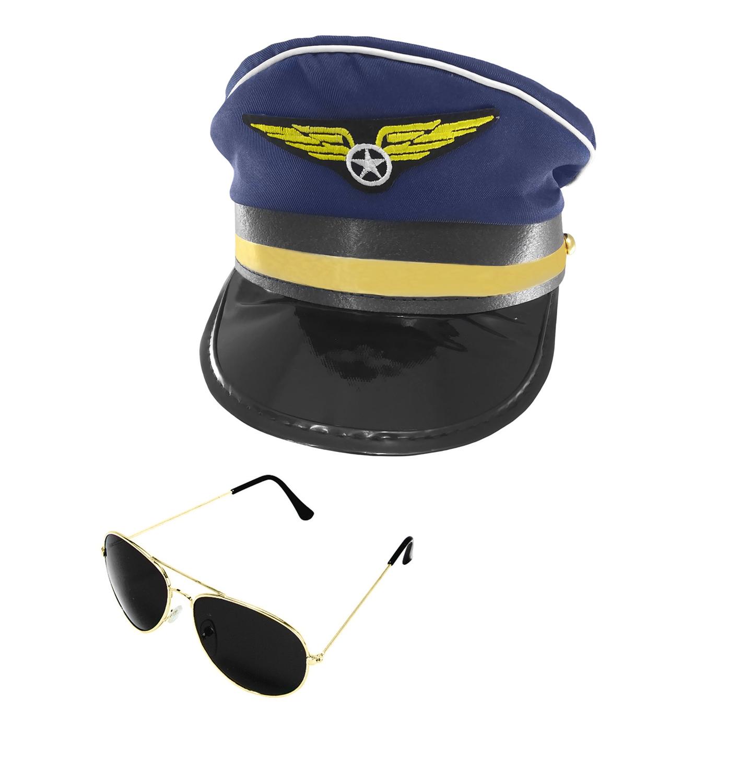 3545036bc18 Airplane Pilot Airline Aviator Sunglasses Navy Captain Hat Cap Adult Costume  Set