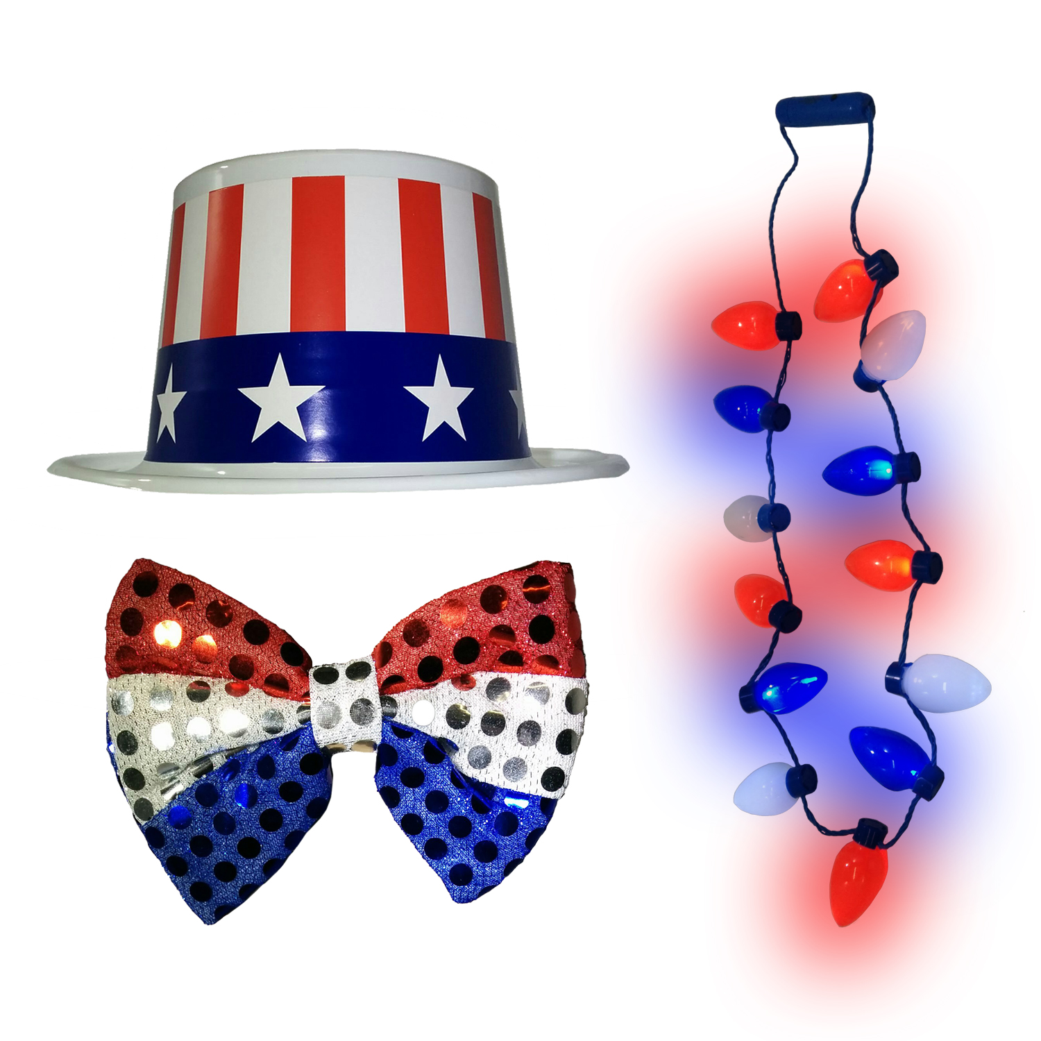 09a51c55deb Light Up 4th of July Necklace Red White Blue Top Hat Patriotic Bow Tie  Costume