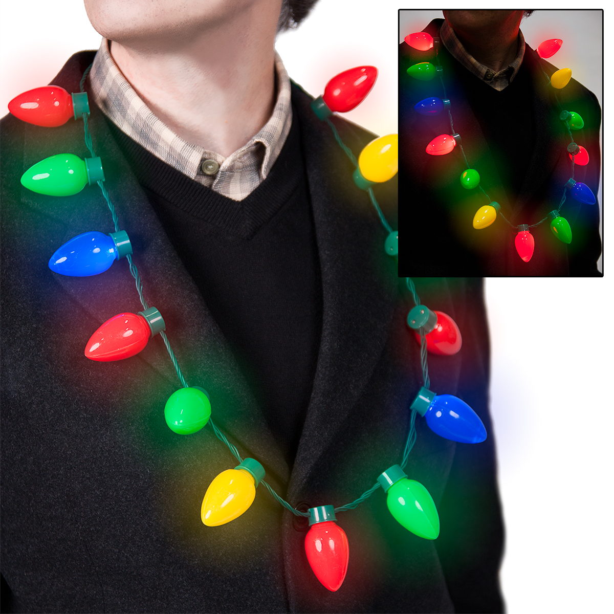 holiday christmas classic large bulb led novelty flashing necklace 6 modes - Christmas Light Necklace Battery Operated