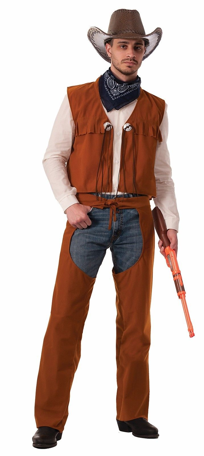 Western Cowboy Sheriff Brown Chaps u0026 Vest Adult Mens Wild West Costume  sc 1 st  eBay : cowboy vest costume  - Germanpascual.Com
