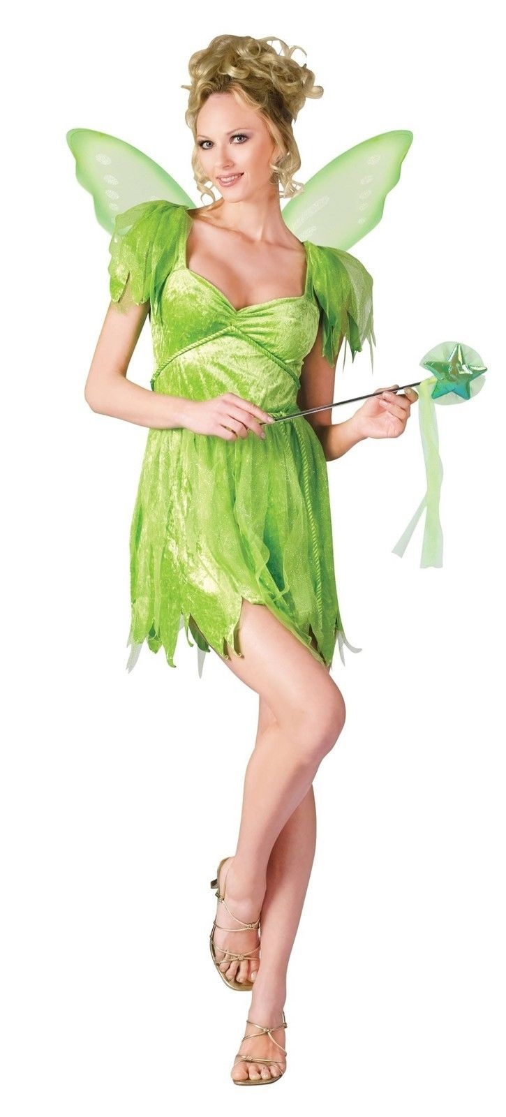 sexy tinkerbell neverland fairy green dress wings adult womens halloween costume