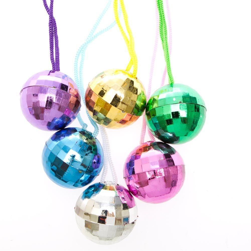 12 Disco Ball Necklaces 70s Style Retro Groovy Party Favors Supply 1 Doze Bulk