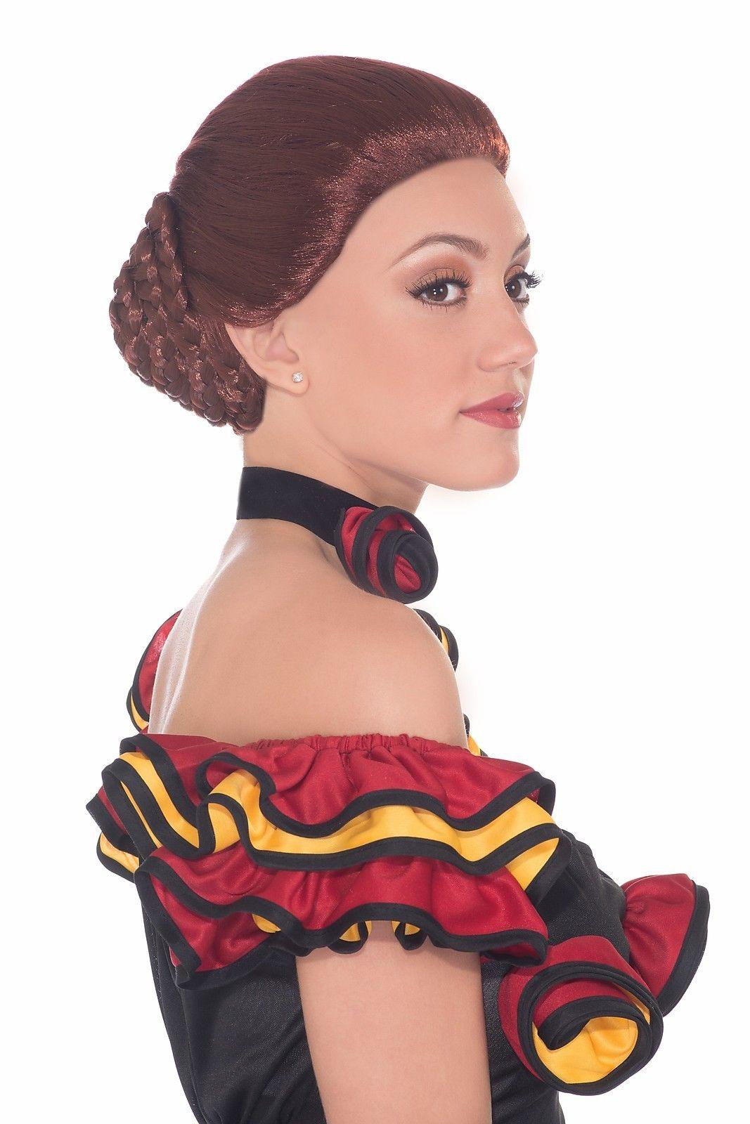 Auburn Red Spanish Salsa Flamenco Dancer Princess Braided ...