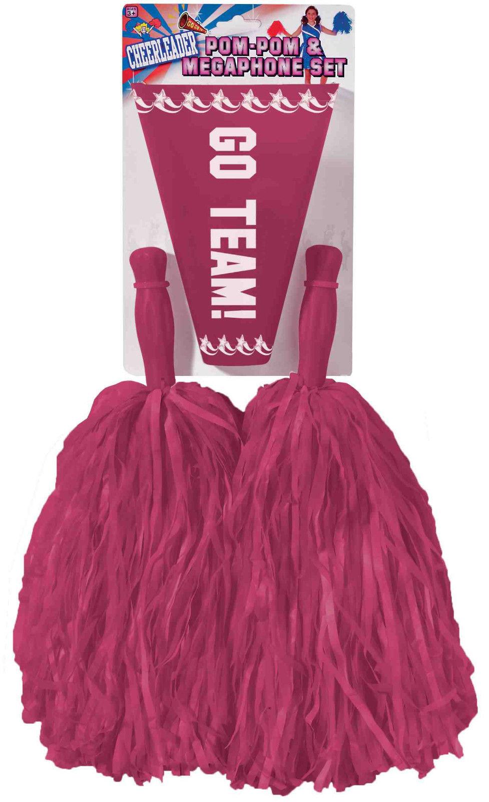 Cheerleader-Pom-Pom-Poms-Megaphone-Cheer-Kit-Set-  sc 1 st  eBay & Cheerleader Pom Pom Poms Megaphone Cheer Kit Set Costume Pompoms Pom ...