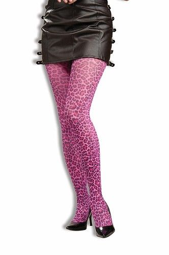 4f39a1a34336 80's Adult Womens Pink Leopard Print Pantyhose Stockings Costume 80s  Accessory