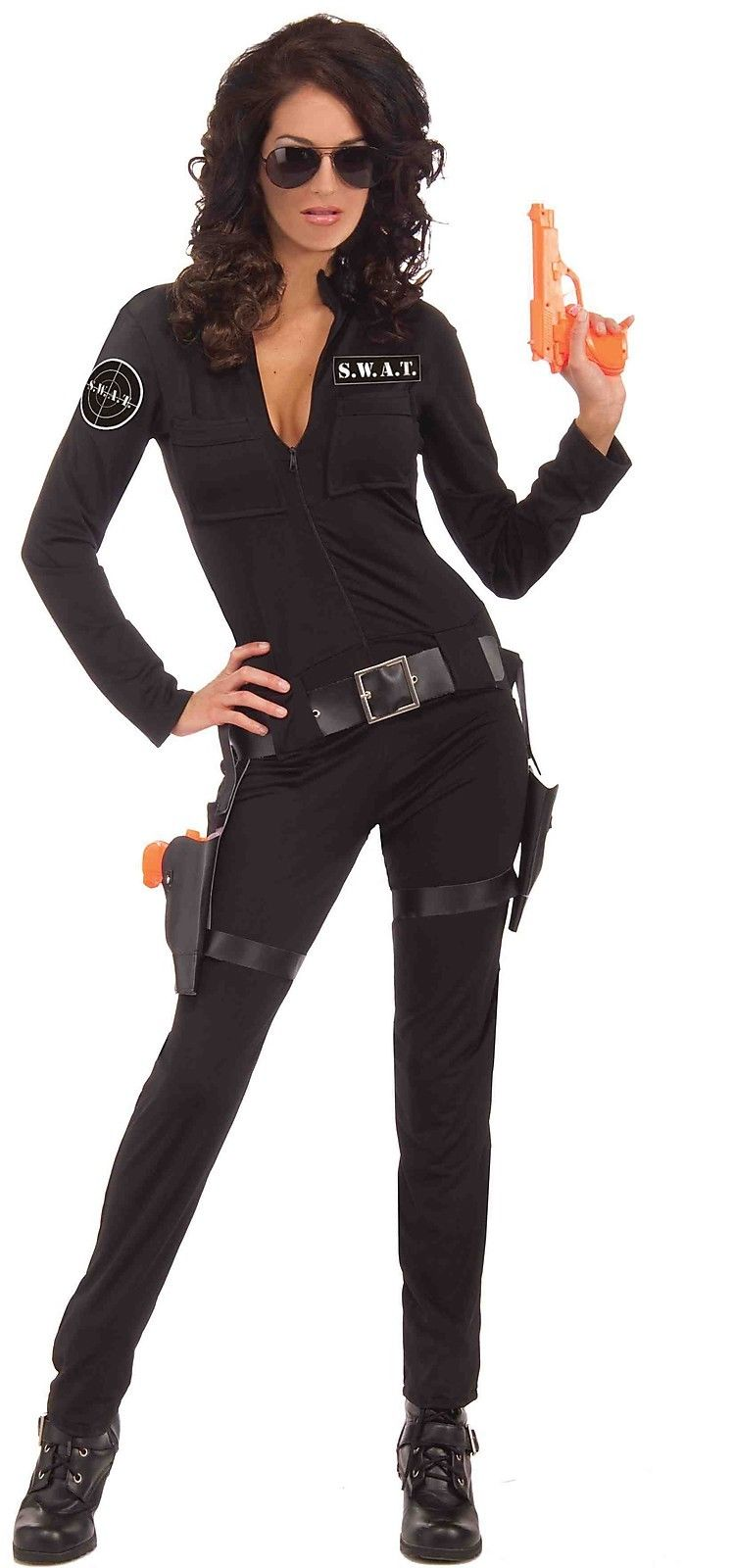 Sexy SWAT Woman Cop Police Officer Jumpsuit Adult Womens Costume NEW ... 1505e153a1496