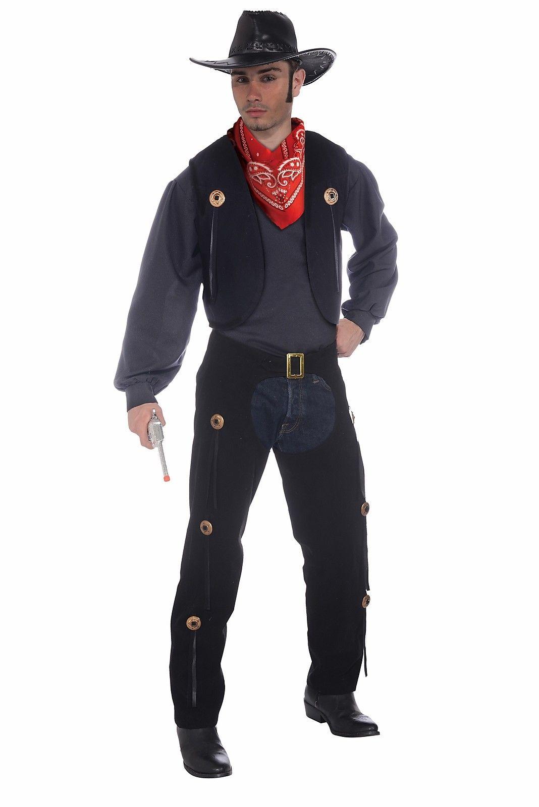 Black Cowboy Western Sheriff Chaps Pants Vest Adult Mens Costume