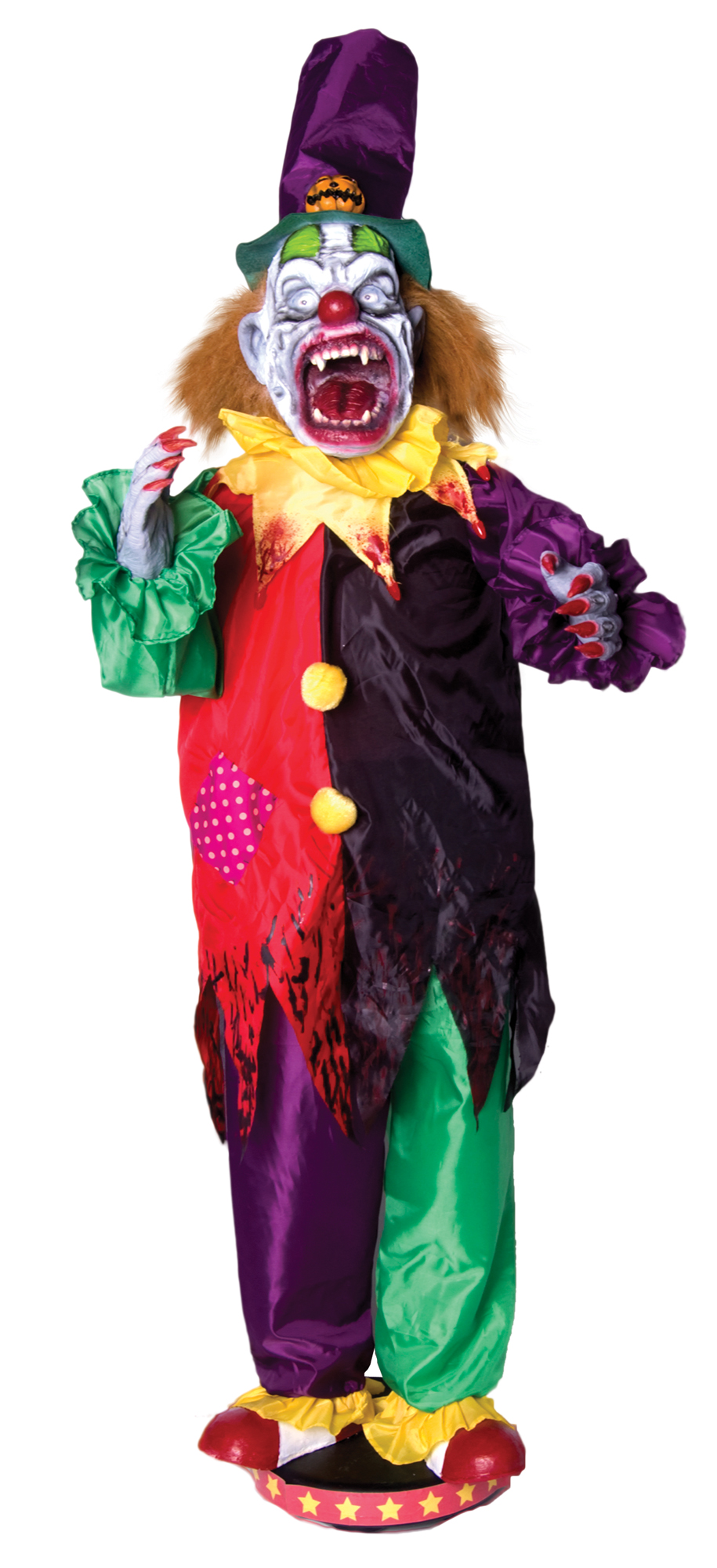 5 39 animated walking clown scary circus jester moving teeth for Clown dekoration
