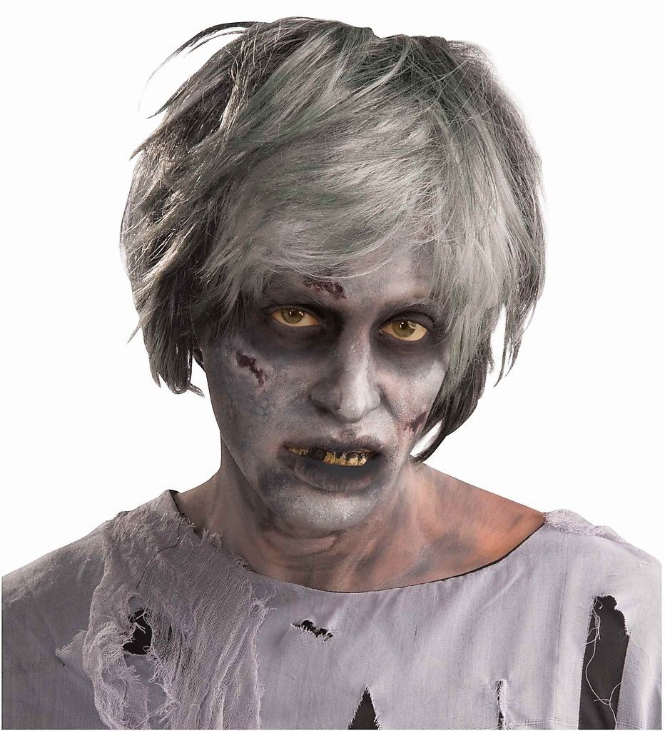 adult zombie short womens gray black hair wig halloween costume accessory
