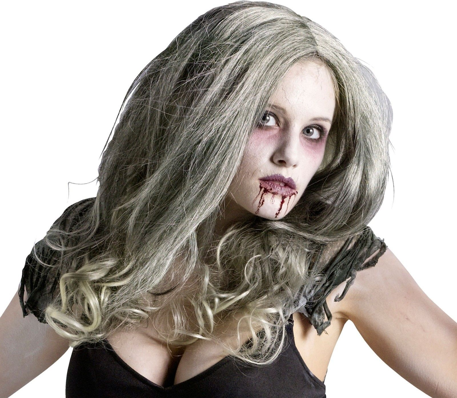 adult zombie queen womens gray green hair wig halloween costume
