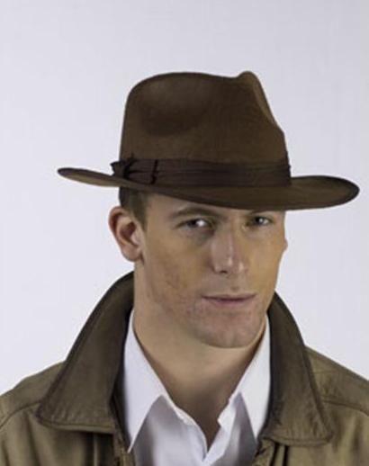 Buy Fun World Brown Fedora Gangster Pimp Classic Brim Hat OSFM ... b67a573d25d