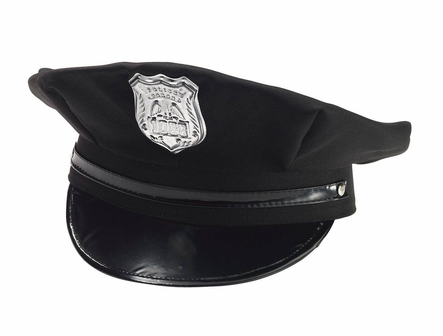 Black Police Hat Cap Man Policeman Cop Hat W  Badge Adult Costume Adjustable e3bab4f186aa