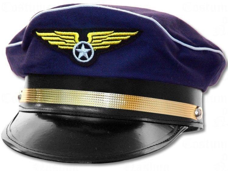 Navy Blue Pilot Captain Hat Cap Airplane Air Force Airline ...
