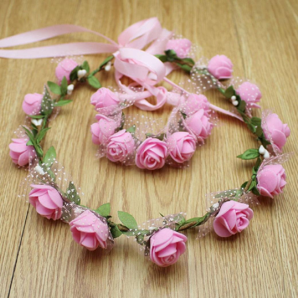 Bridal Flower Floral Rose Headband Head Wreath Crown Halo Wrist