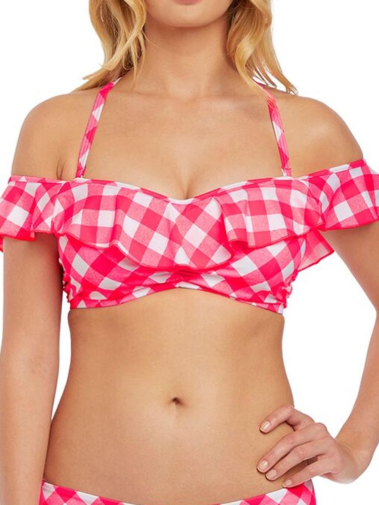 MOM Freya Totally Check AS2925 Non-Wired Bardot Bikini Top Monochrome CS