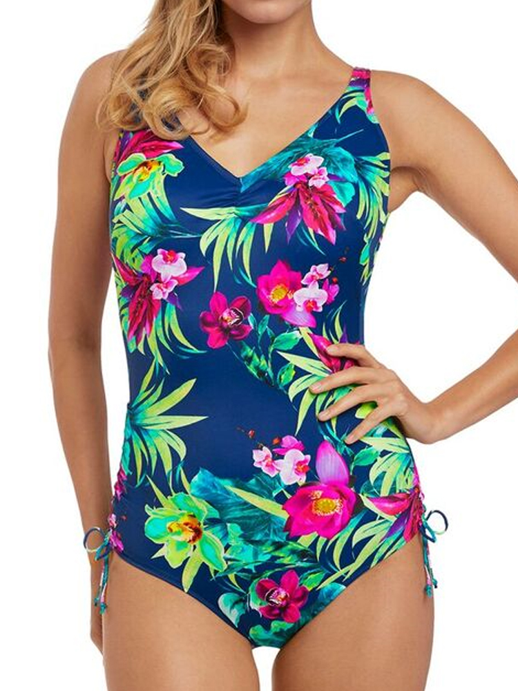 a409ff3c1c47a Fantasie Amalfi V-Neck Swimsuit 6533 Underwired Adjustable leg Swimming  Costume. click image to enlarge