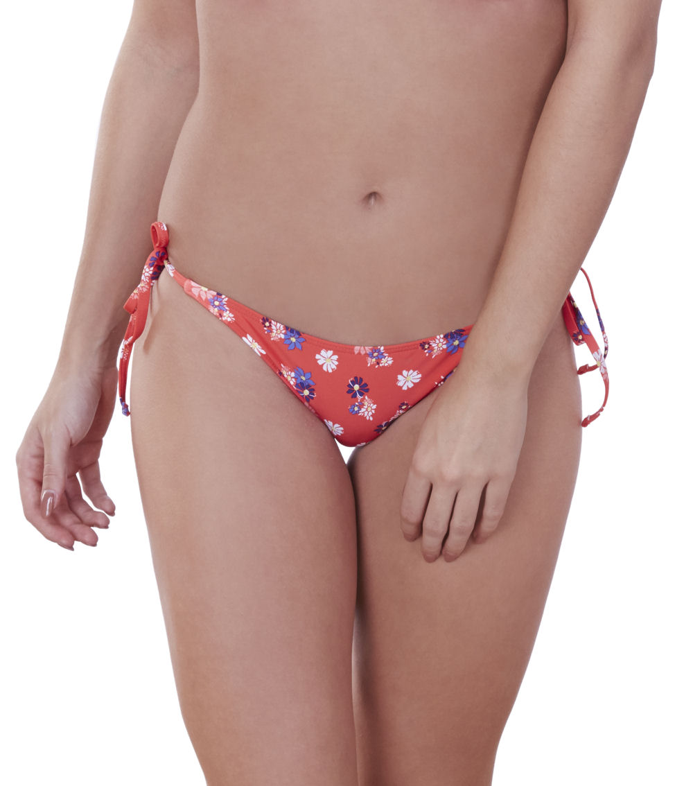Lepel Daisy Print Mid Rise Tie Side Bikini Brief Fully Lined Bottoms