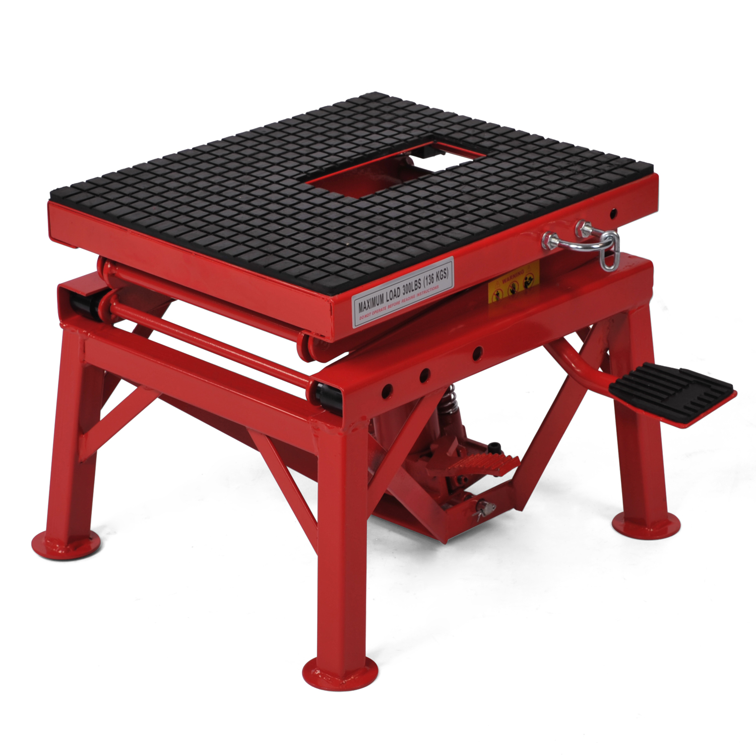 300lb motorcycle hydraulic scissor floor jack lift wide for How to jack up a motorcycle with a floor jack