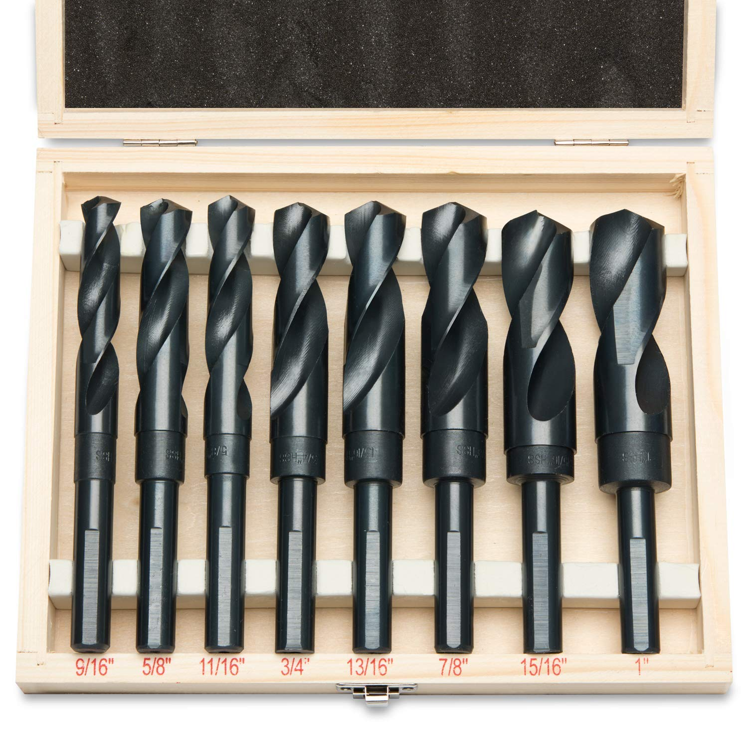 8pc-HSS-Cobalt-Silver-amp-Deming-Drill-Bits-Set-Large-Size-9-16-034-to-1