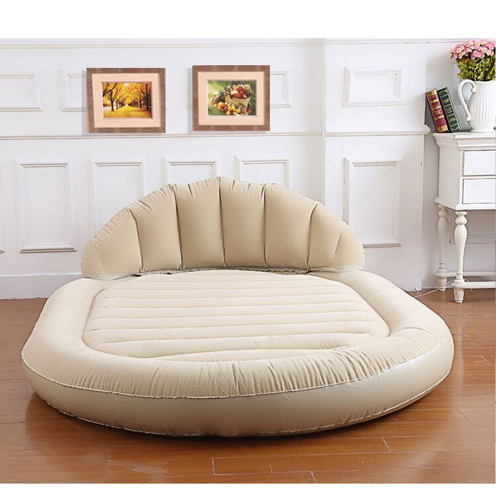 Beige Daybed Lounger Air Inflatable Sofa Couch Mattress