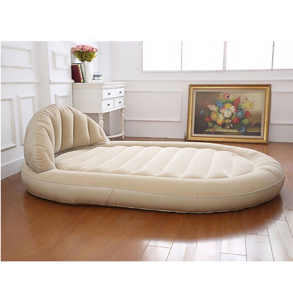 Inflatable Sleeper Sofa Bed: BEIGE DAYBED LOUNGER AIR INFLATABLE SOFA COUCH MATTRESS
