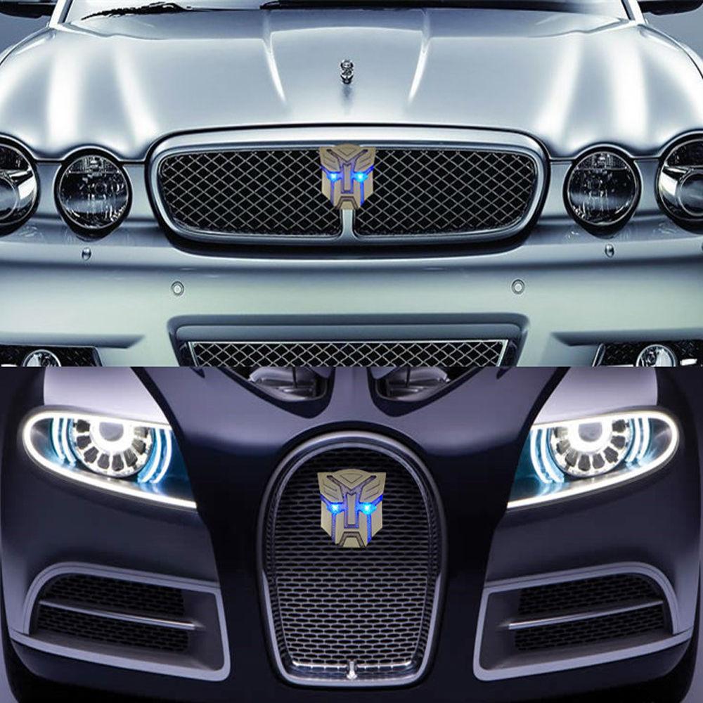 New LED Car Sticker Transformers Badge Emblems Solar Flash