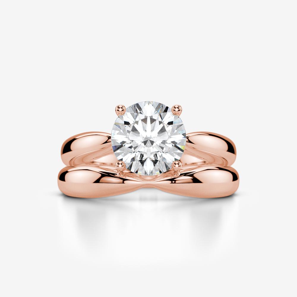 Vs 3 Ct Diamond Ring Band Set 4 Prong Women Modern 18 Kt Rose Gold