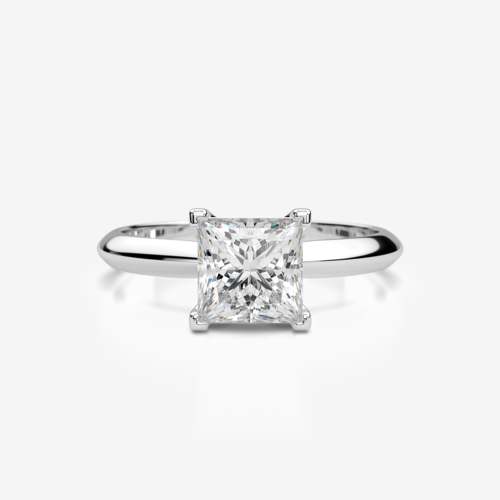 PRINCESS SHAPE DIAMOND RING 18K WHITE GOLD 4 PRONGS 1 CT LADIES SIZE ... 10d69cea0