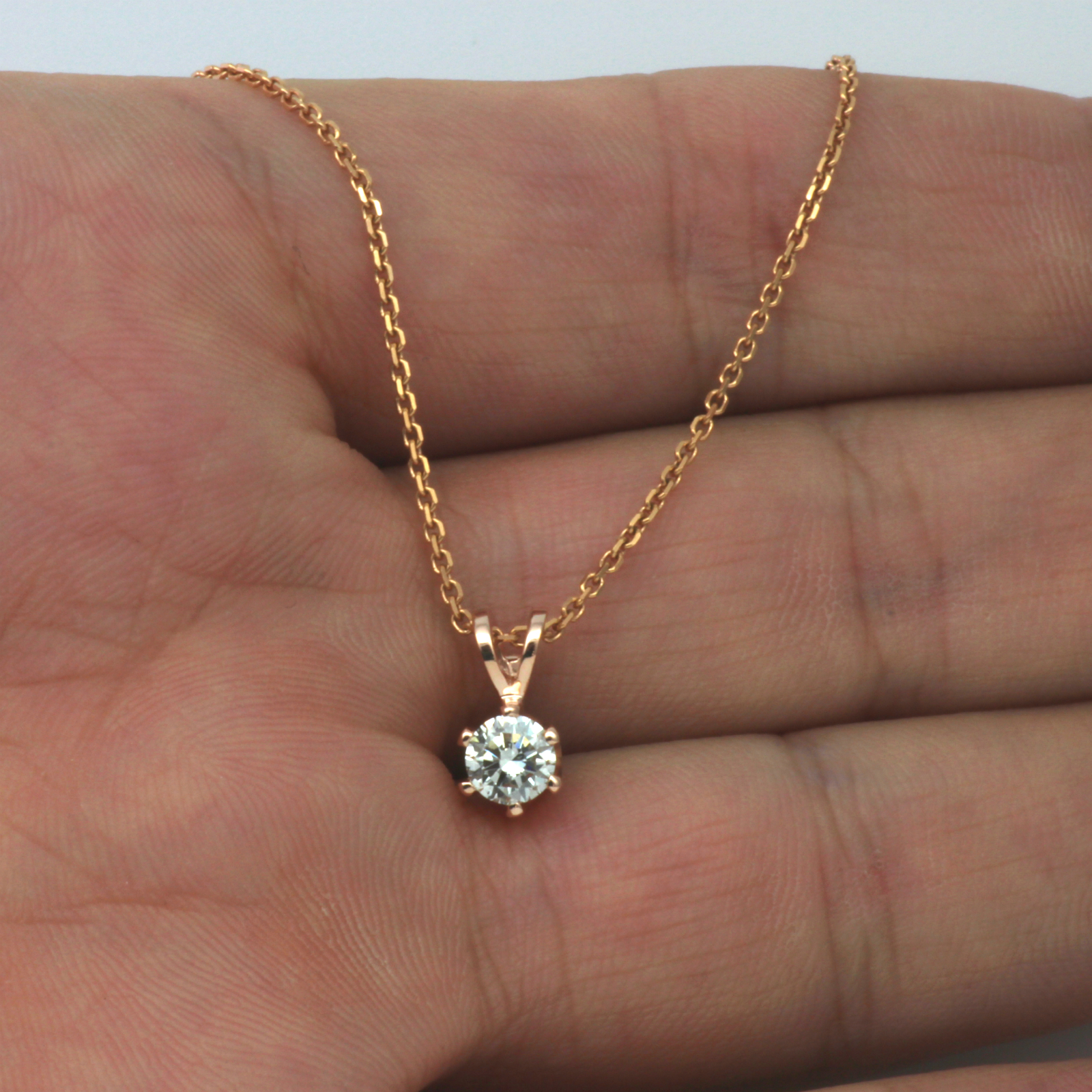 in single diamond solitaire rose ct round necklace gold jewelry nl rg carat