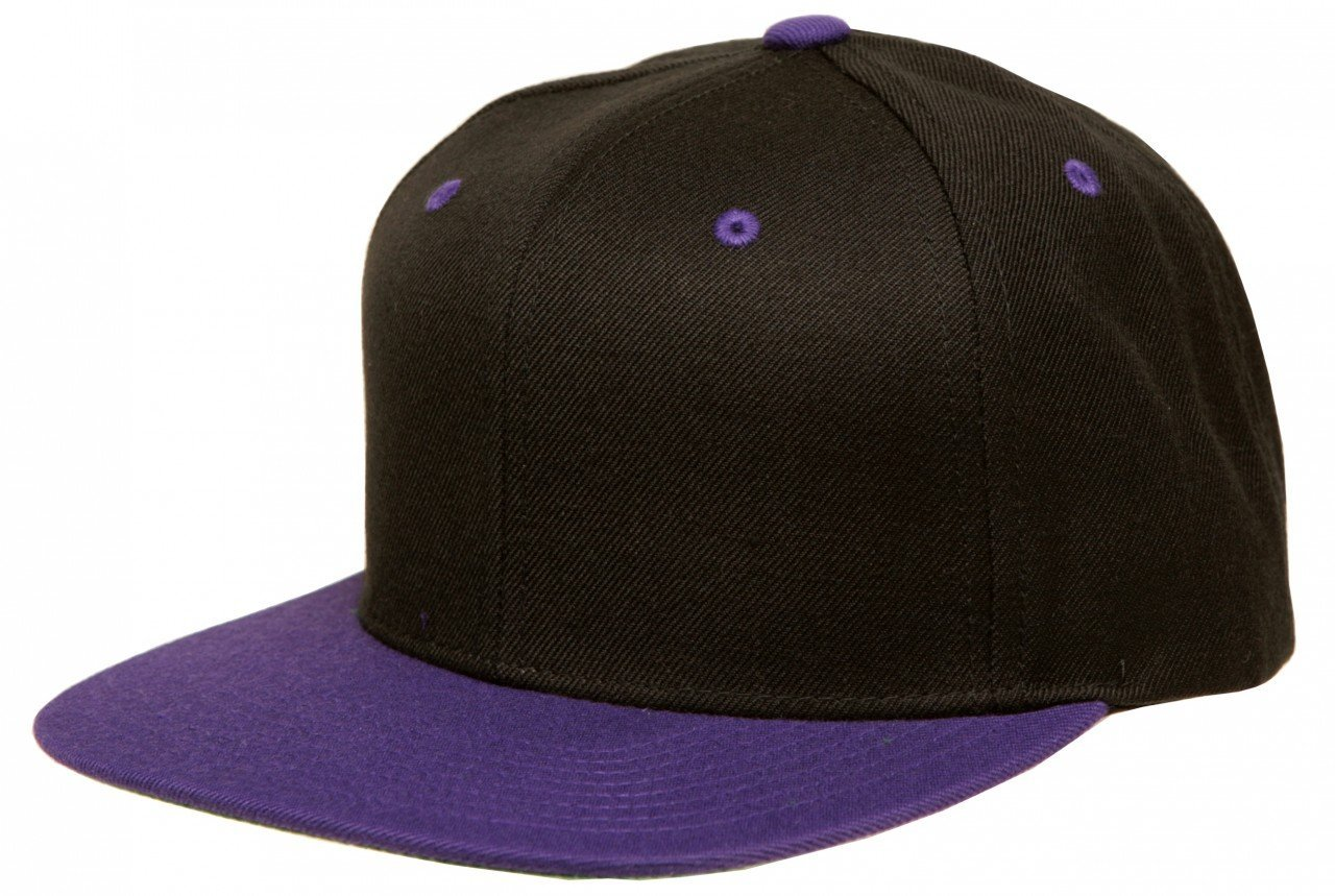 3b4e8604864 Yupoong Two-Tone Pro-Style Wool Blend Snapback Hat Baseball Cap Black    Purple