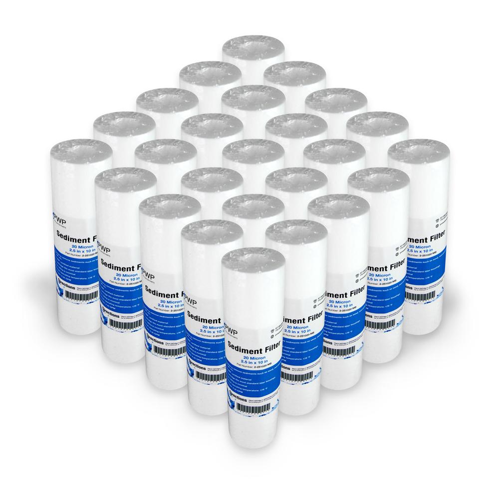 "Sediment Melt Blown Water Filter Cartridge Standard 2.5x10/"" 20 Micron 2 Pack"