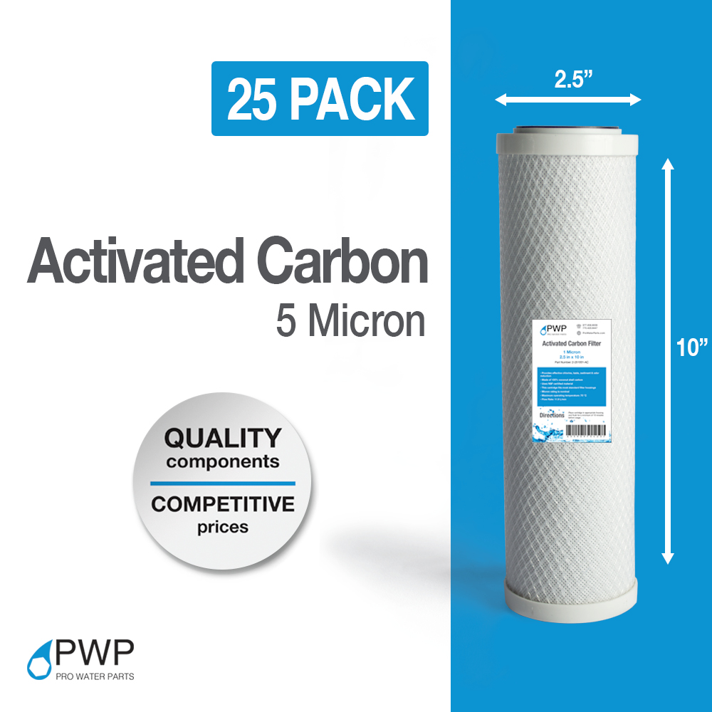 25 pack activated carbon block water filter cartridge ro cto 10x2 5 5 micron ebay. Black Bedroom Furniture Sets. Home Design Ideas