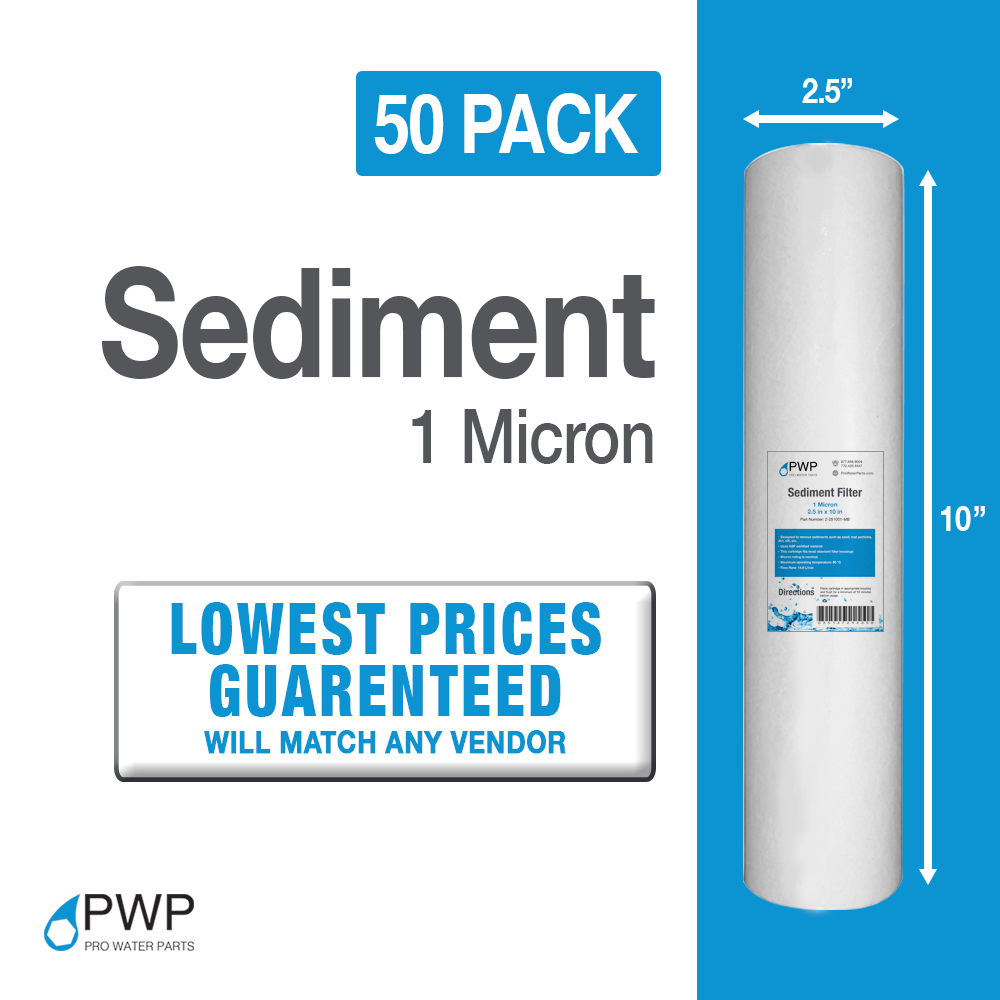 50 pack 1mic sediment water filter cartridges whole house reverse osmosis 10x25