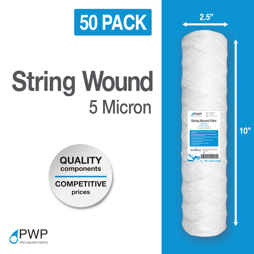 50 PACK STRING WOUND SEDIMENT WATER FILTER CARTRIDGE 2 5 x 10 20 Micron PWP