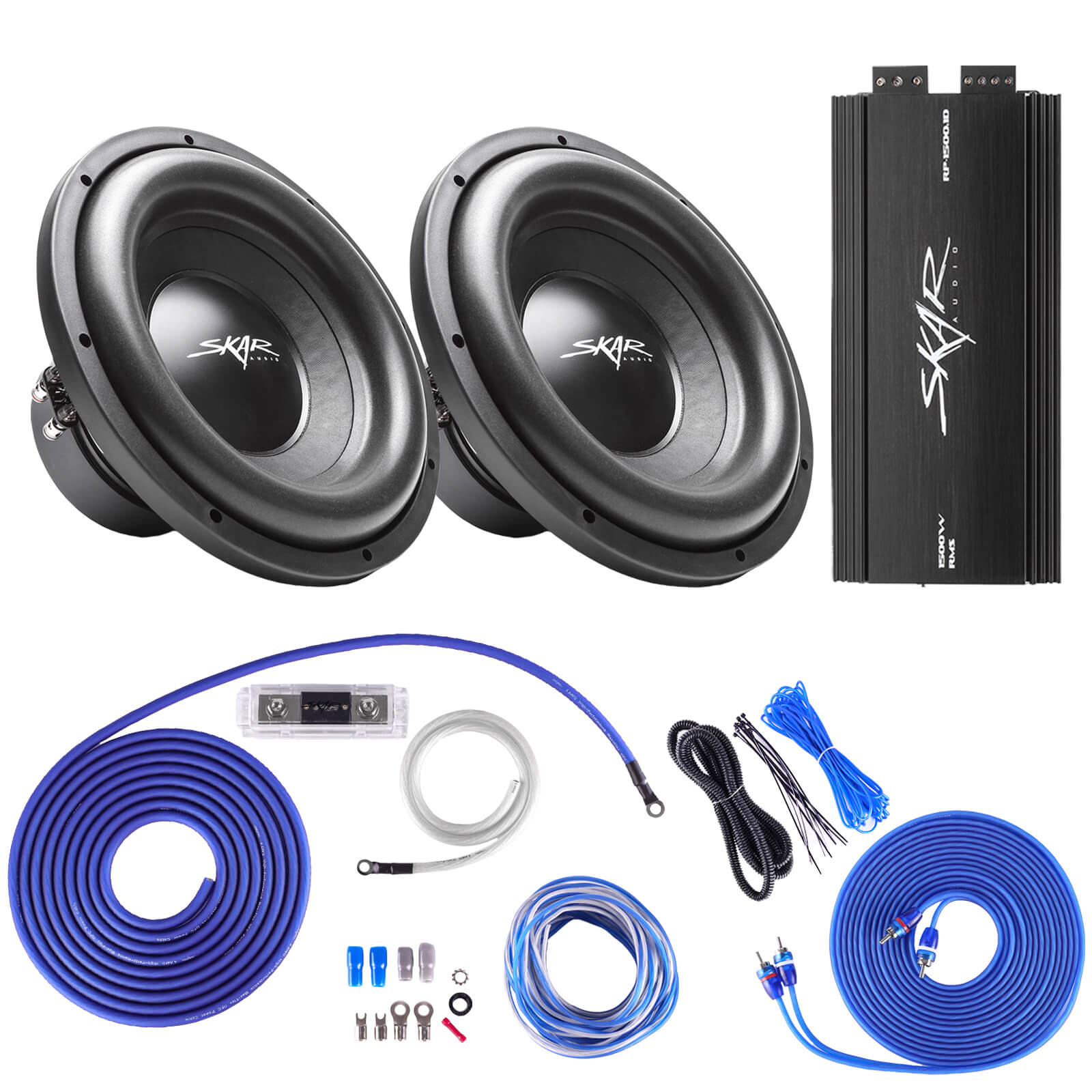 Skar Audio IX-10 D4 Dual 10 400 Watt RMS Subwoofer Package with RP-350.1D Amplifier and 4 Gauge Amp Wiring Kit