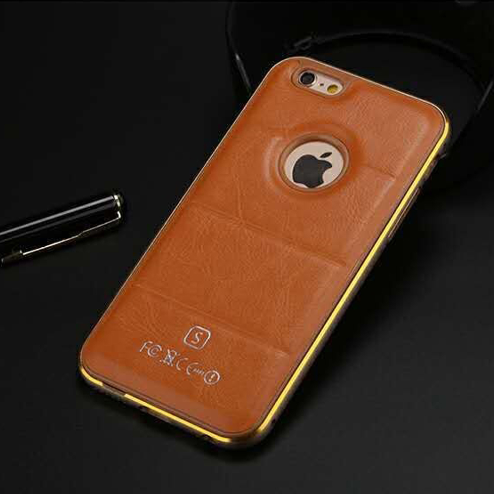 metal iphone case luxury aluminum metal frame leather back cover for 12624