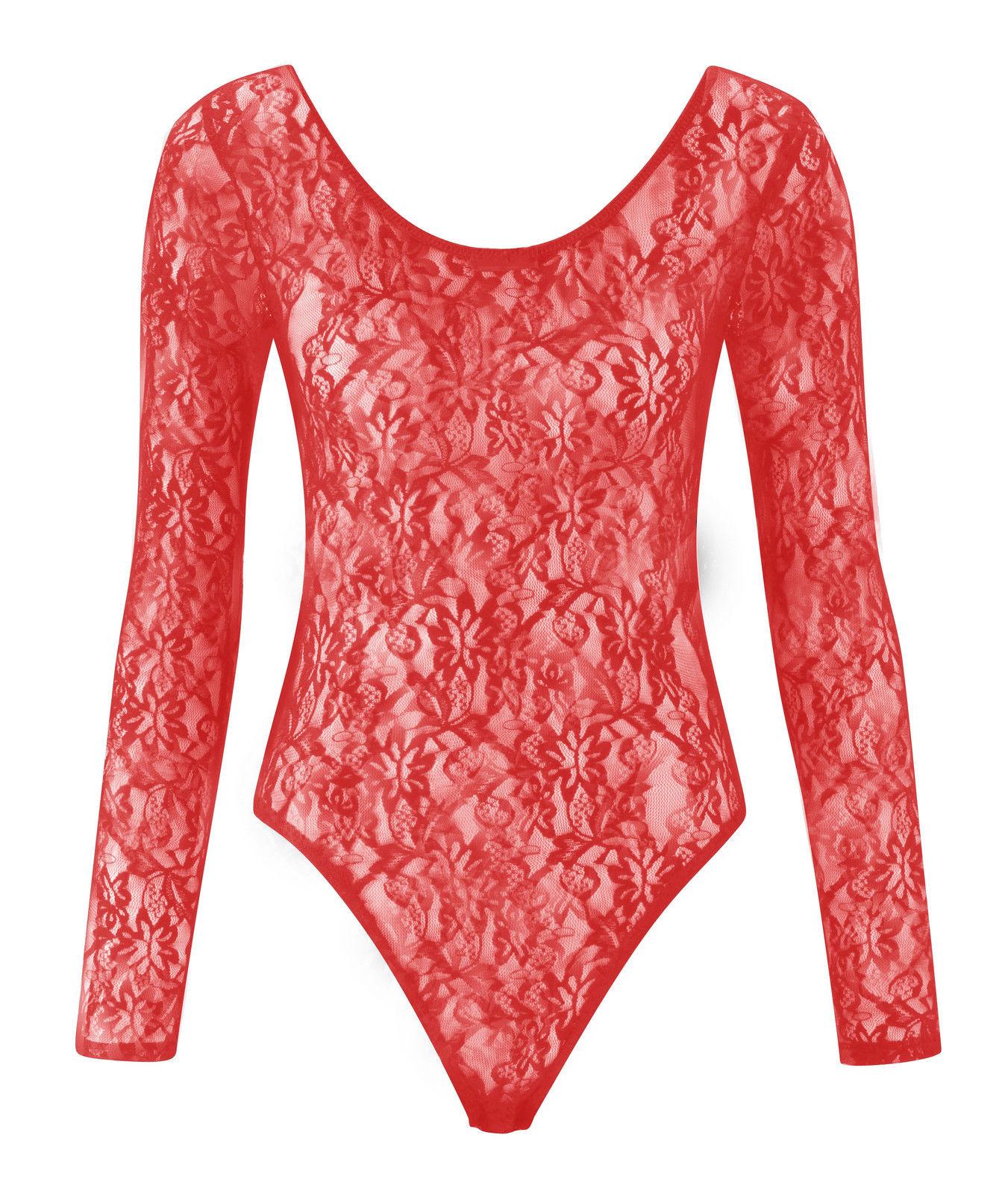 New Womens Plus Size Floral Lace Bodysuit Ladies Leotard ...