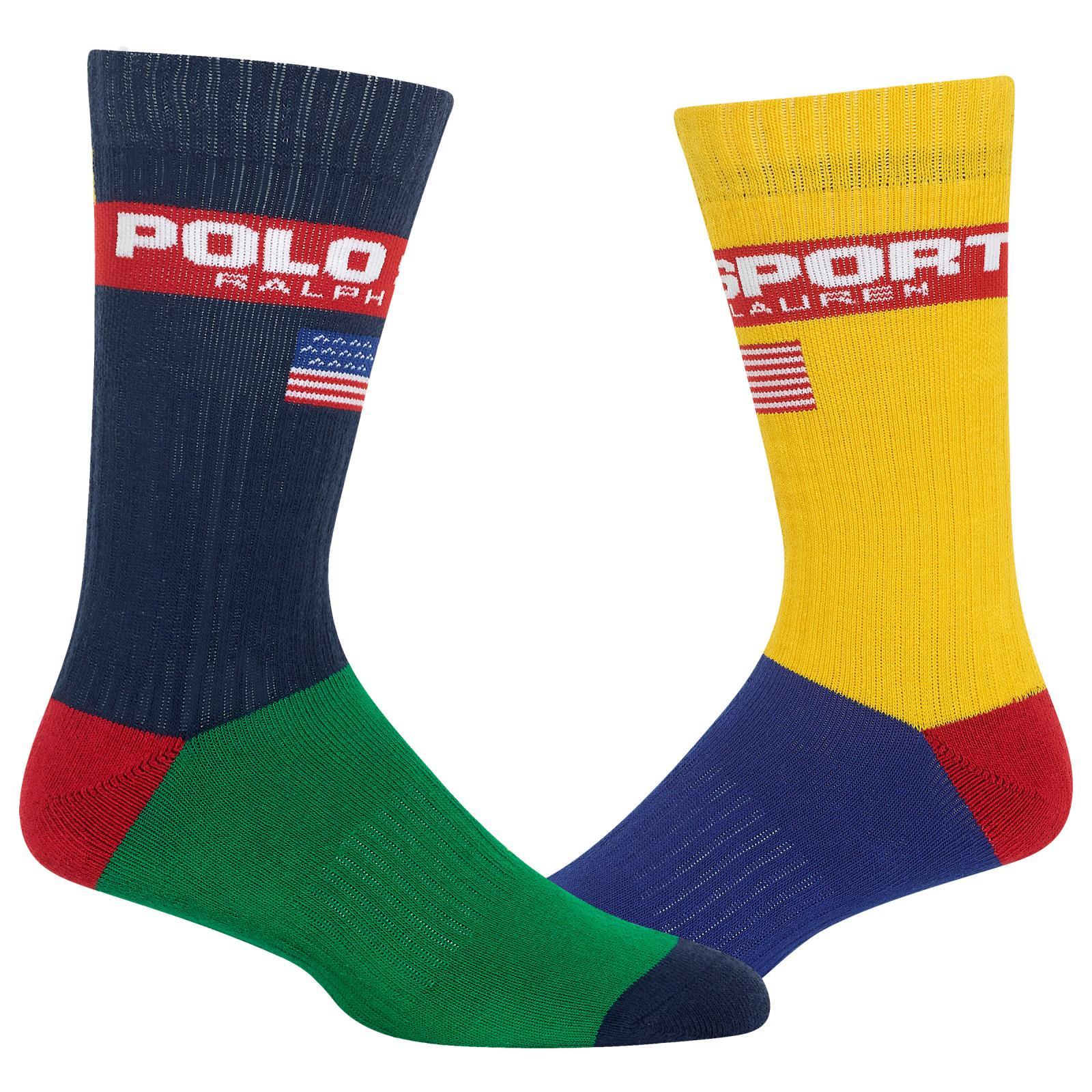Polo Ralph Lauren Sport Men/'s Colorblock Athletic Crew Sock