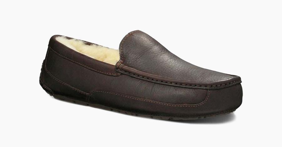 6e068951104 UGG Australia Ascot Mens Slippers 5379 Black Leather Loafer Outdoor SLIPPER  12