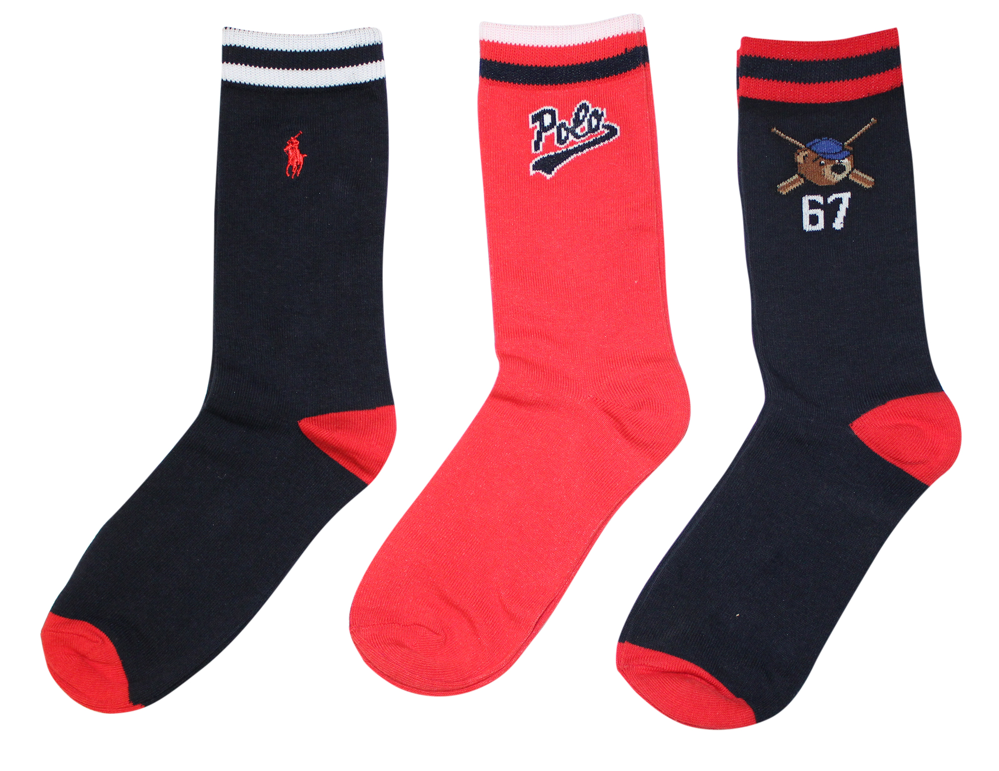 7383a78fd5 Details about Polo Kids Socks for Boys 3-Pack Crew Dress Sock with Polo  Design 2-12 Years