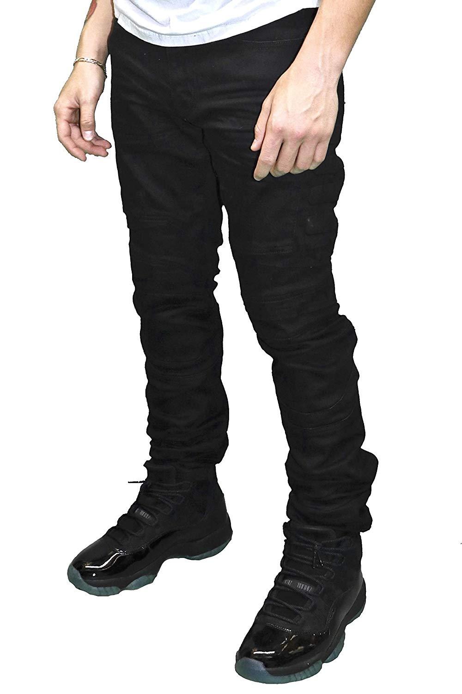 Smoke Rise Men/'s Fashion Moto Biker Denim Jeans