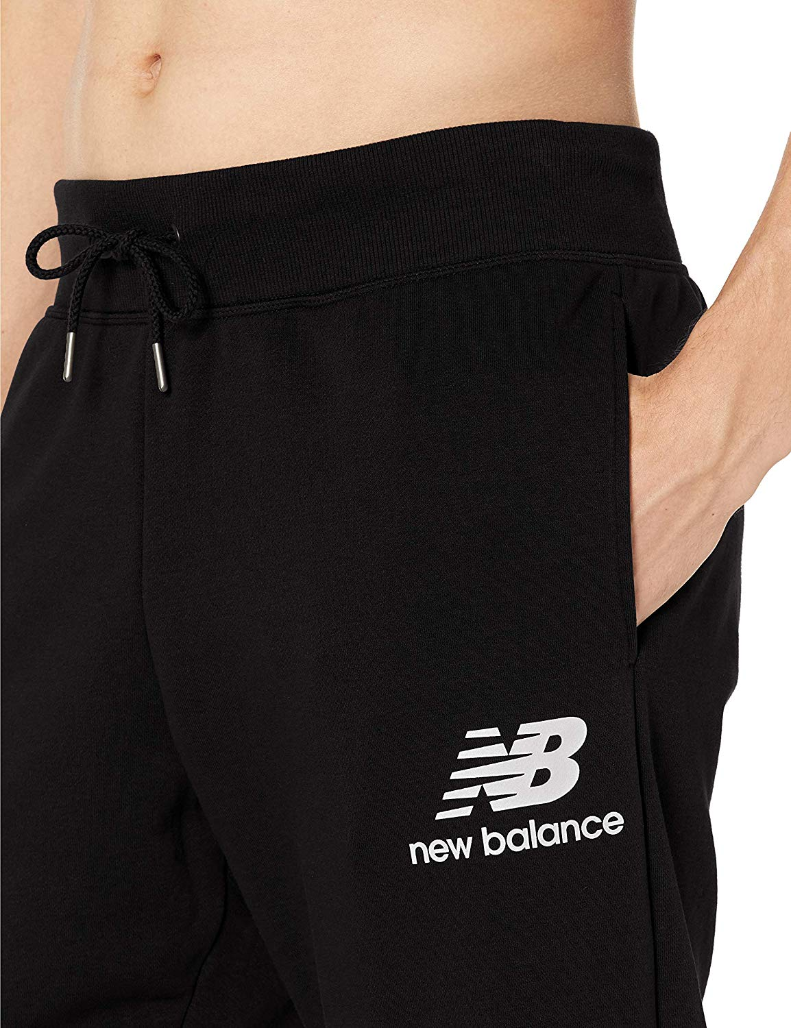 50a946cec96a4 New Balance Men's Essentials Stacked Logo Sweatpants, Black, Large ...