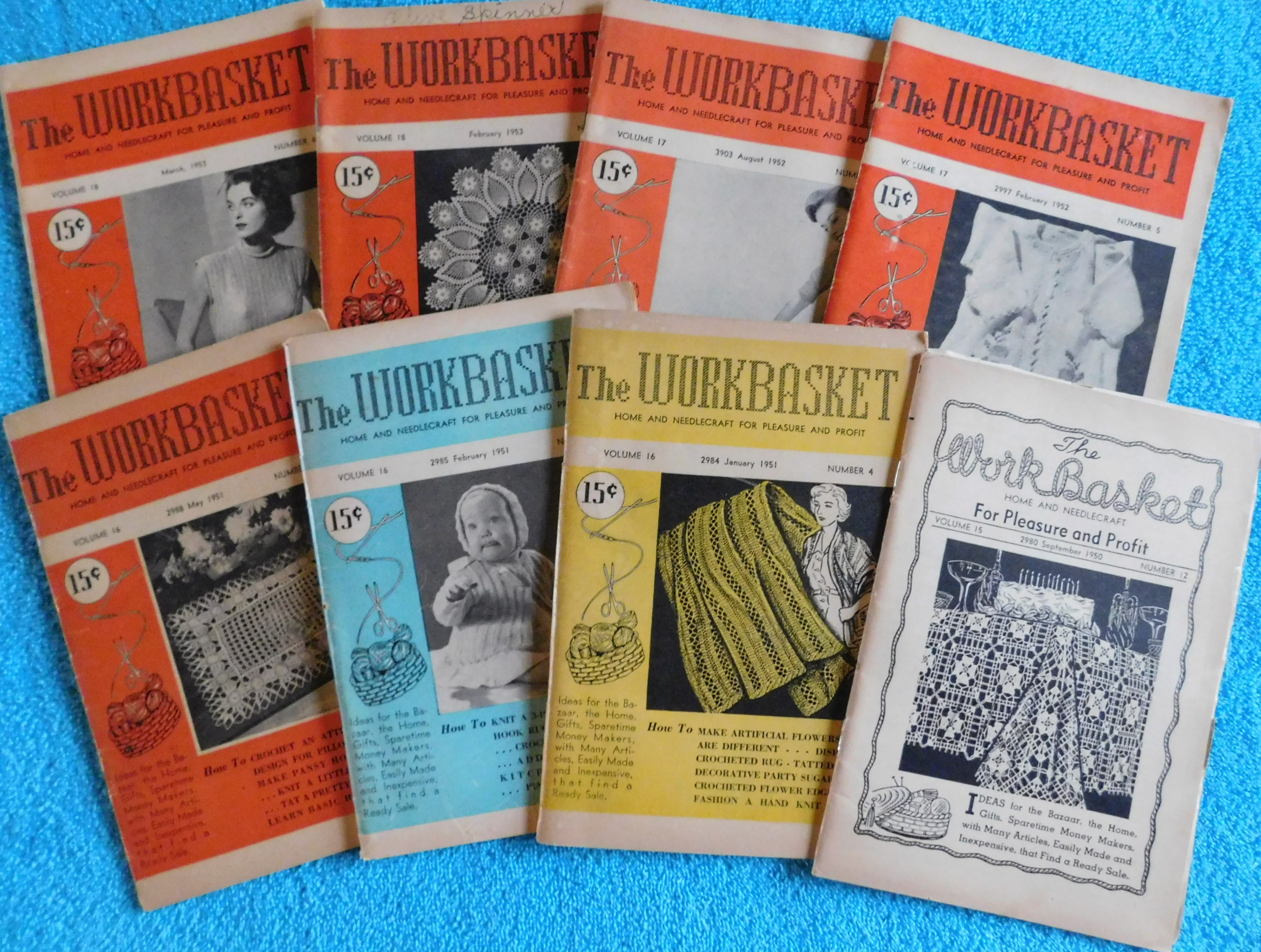 Lot of 8 The Workbasket Magazines from 1950, 1951, 1952 & 1953 | eBay