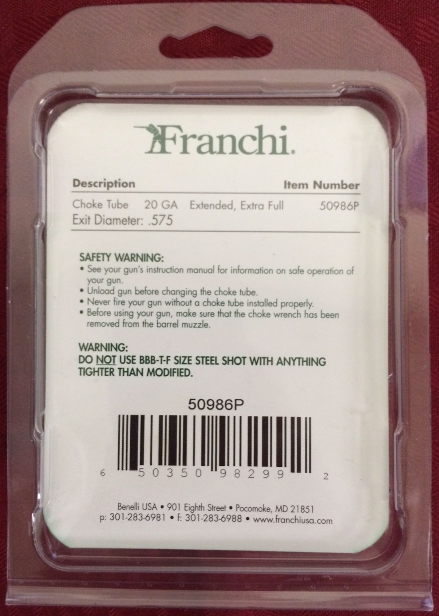 Details about Factory Franchi 20 Gauge Extended Extra Full Choke Tube  575  50986P Turkey Mobil