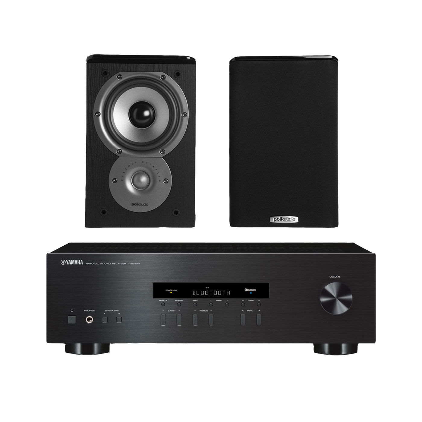 Yamaha R S202 Stereo Receiver With Bluetooth And Polk TSi100 2 Way Bookshelf Speakers 5 1 4 Driver