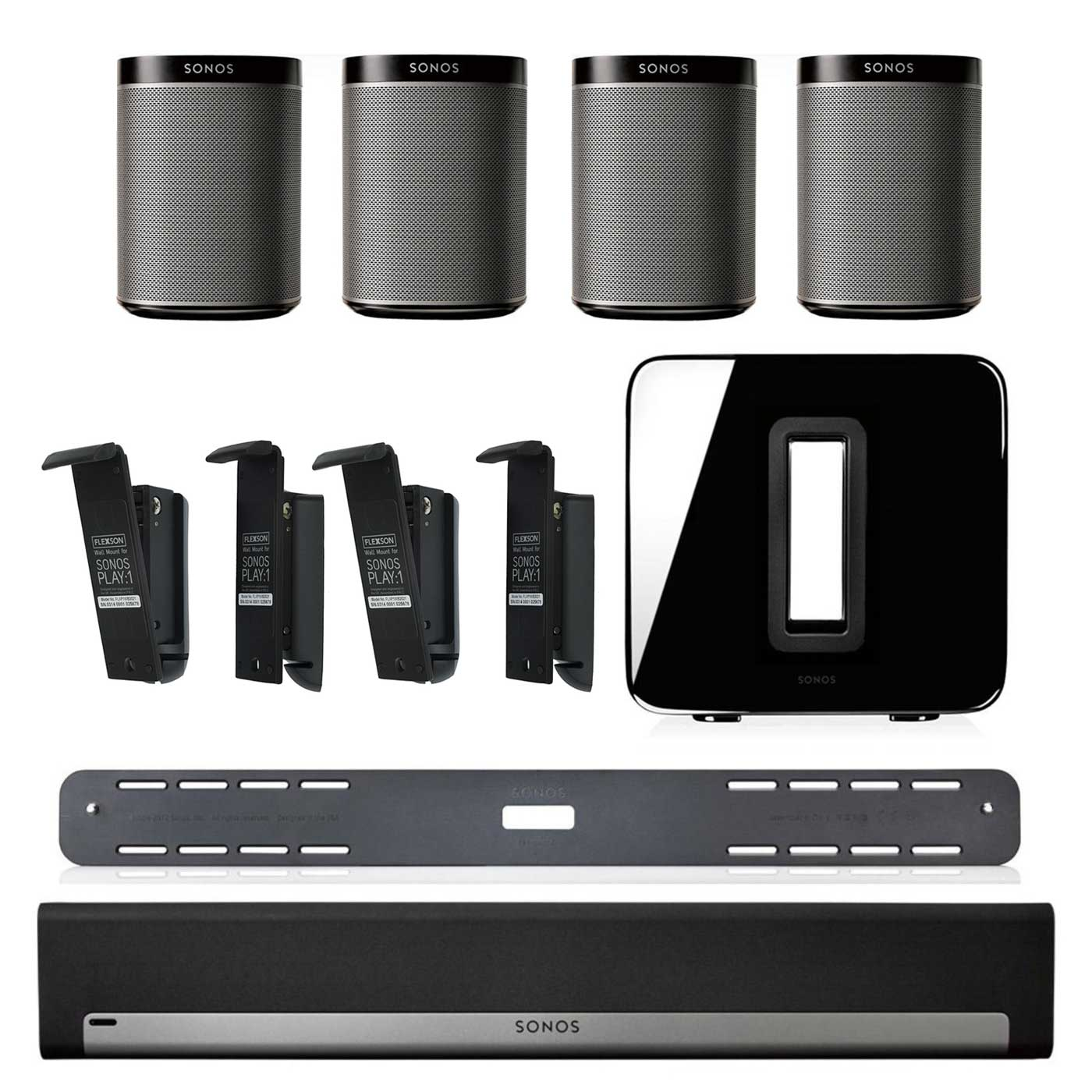 Sonos PLAYBAR Soundbar, Wall Mount Kit, SUB Subwoofer ,4 PLAY:1s & 4 Wall Mounts | eBay